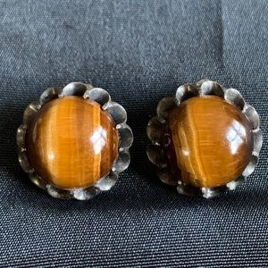 Sterling & Tiger's Eye Cabochon Clip on Earrings